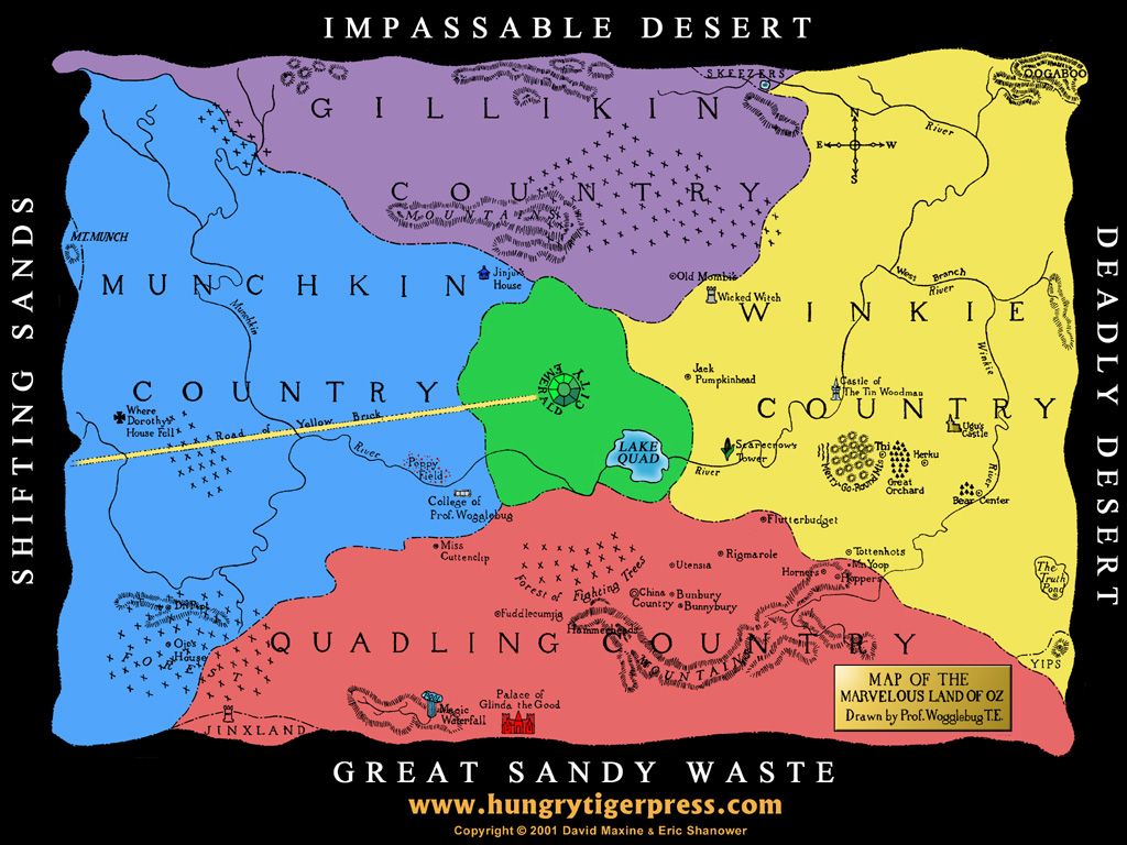 Desktop wallpaper map of the marvelous land of oz